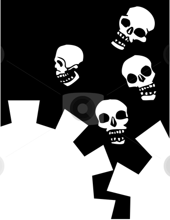 Gear Skulls stock vector clipart, Four skulls that are falling into mechanical gears. by Jeffrey Thompson
