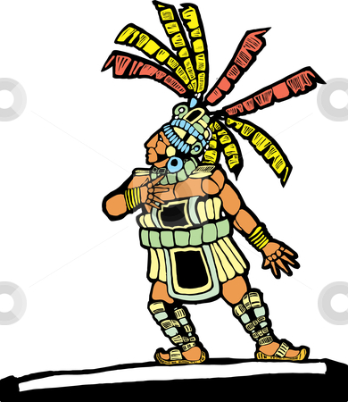 Mayan Ballplayer stock vector clipart, Mayan Ballplayer in ball court designed after Mesoamerican Pottery and Temple Images. by Jeffrey Thompson