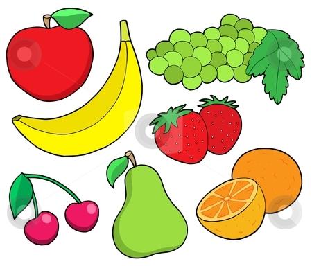 Fruit collection 1 stock vector clipart, Fruit collection 1 on white background - vector illustration. by Klara Viskova