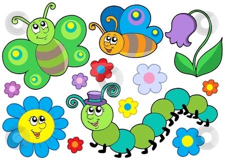 Bug and flower set stock vector clipart, Bug and flower set - vector illustration. by Klara Viskova