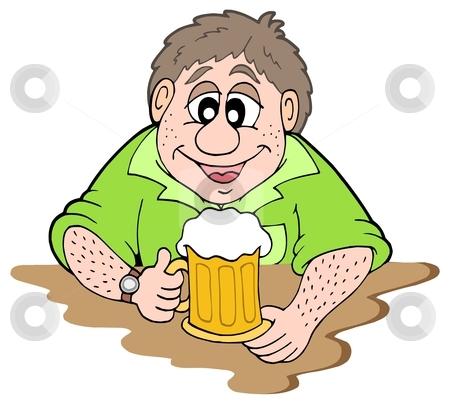 Beer drinker stock vector clipart, Beer drinker on white background - vector illustration. by Klara Viskova