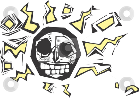 Electric Skull stock vector clipart, Stylized woodcut image of a skull with lightning bolts surrounding it. Might make a good tattoo or hip image on a shirt, cup or skateboard. by Jeffrey Thompson