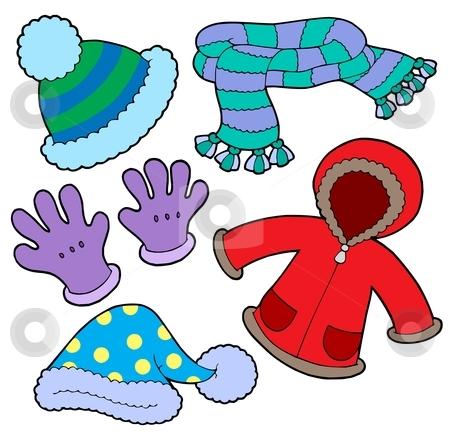 Winter clothes collection stock vector clipart, Winter clothes collection - vector illustration. by Klara Viskova