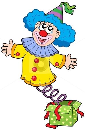 Clown from box stock vector clipart, Clown from box - vector illustration. by Klara Viskova