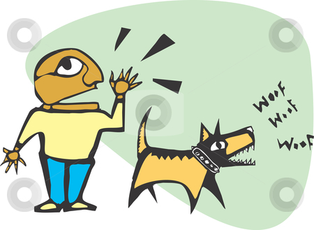 Man and Dog stock vector clipart, Man yelling while his dog is barking. by Jeffrey Thompson