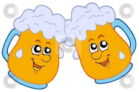 Pair of cartoon beers stock vector clipart, Pair of cartoon beers - vector illustration. by Klara Viskova