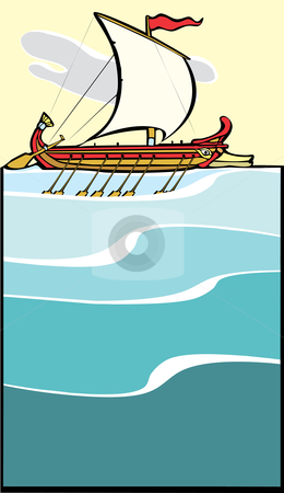 Greek Warship stock vector clipart, Greek Sailing Warship in the style of a trireme. by Jeffrey Thompson