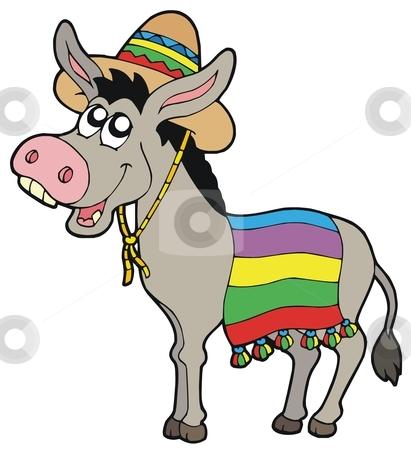Mexican donkey with sombrero stock vector clipart, Mexican donkey with sombrero - vector illustration. by Klara Viskova