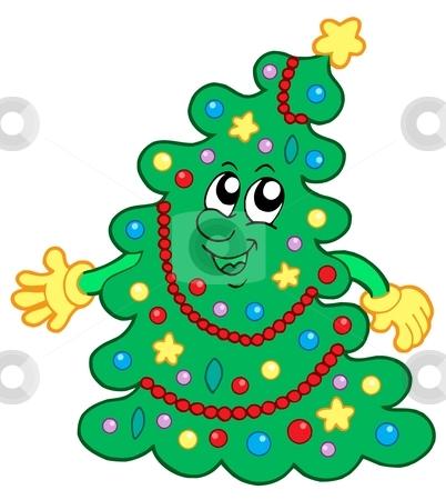Happy Christmas tree stock vector clipart, Happy Christmas tree - vector illustration. by Klara Viskova