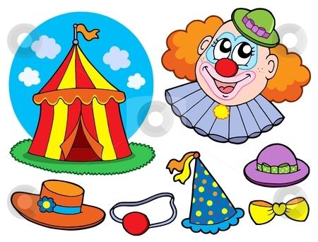 Circus clown collection stock vector clipart, Circus clown collection - vector illustration. by Klara Viskova