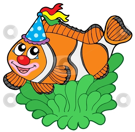 Cartoon clownfish in anemone stock vector clipart, Cartoon clownfish in anemone - vector illustration. by Klara Viskova