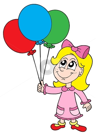 Small girl with balloons vector illustration stock vector clipart, Small girl with balloons - vector illustration. by Klara Viskova