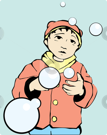 Boy with Bubbles stock vector clipart, Boy in warm autumn coat and hat looks a bubbles. by Jeffrey Thompson
