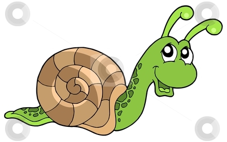 Cute snail stock vector clipart, Cute snail on white background - vector illustration. by Klara Viskova