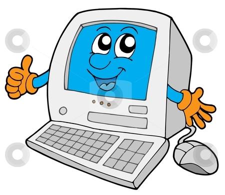 Cute small computer stock vector clipart, Cute small computer - vector illustration. by Klara Viskova