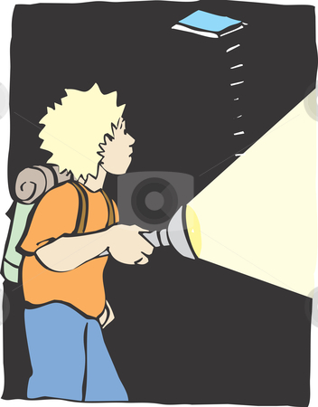 Exploring Boy stock vector clipart, A boy with a flash light explores a dark cave. by Jeffrey Thompson