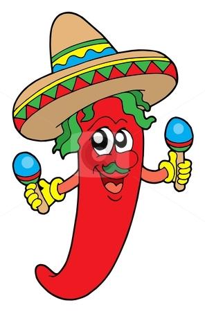 Mexican chili musician stock vector clipart, Mexican chilli musician - vector illustration. by Klara Viskova