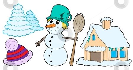 Winter collection stock vector clipart, Winter collection on white background - vector illustration. by Klara Viskova