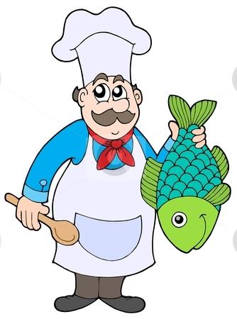 Chef holding fish stock vector clipart, Chef holding fish - vector illustration. by Klara Viskova