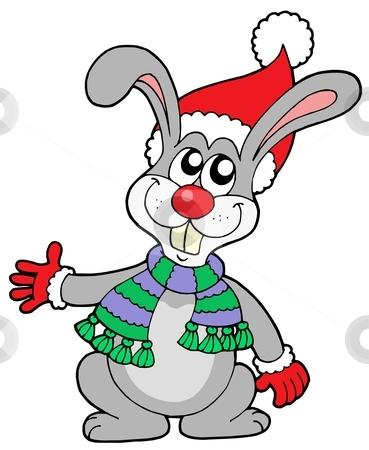 Cute rabbit in Christmas hat stock vector clipart, Cute rabbit in Christmas hat - vector illustration. by Klara Viskova