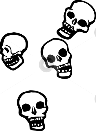 Falling skulls stock vector clipart, Four skulls that are falling from the sky. by Jeffrey Thompson