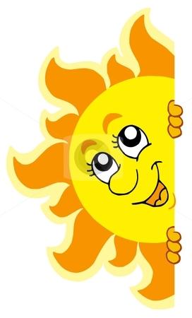 Lurking Sun stock vector clipart, Lurking Sun on white background - vector illustration. by Klara Viskova