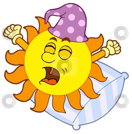 Waking up Sun on pillow illustration stock vector clipart, Waking up Sun - vector illustration. by Klara Viskova