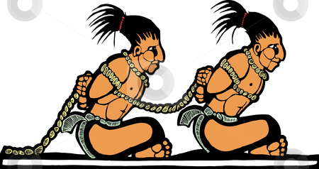 Mayan Prisoners stock vector clipart, Mayan prisoners designed after Mesoamerican Pottery and Temple Images. by Jeffrey Thompson