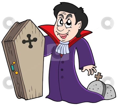 Vampire with coffin and graves stock vector clipart, Vampire with coffin and graves - vector illustration. by Klara Viskova