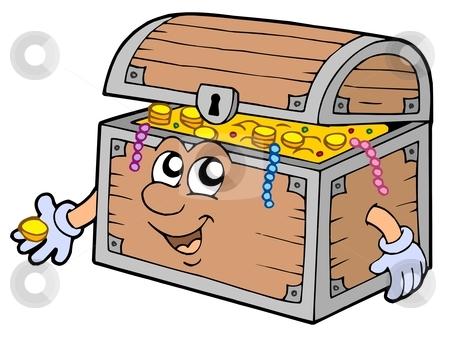 Cartoon treasure chest stock vector clipart, Cartoon treasure chest - vector illustration. by Klara Viskova