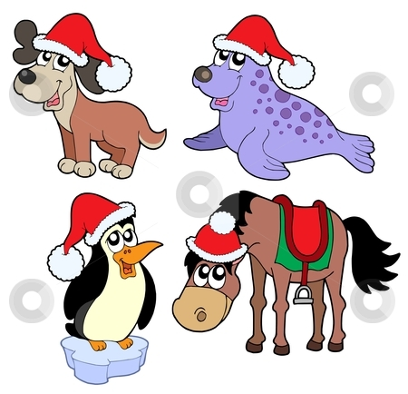 Christmas animals collection - stock vector clipart, Christmas animals collection - vector illustration. by Klara Viskova