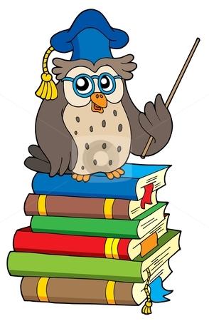 Owl teacher and books stock vector clipart, Owl teacher and books - vector illustration. by Klara Viskova