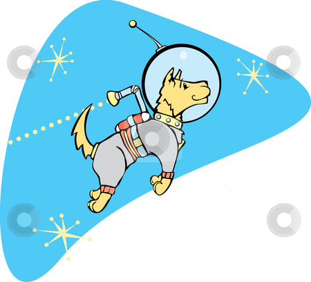 SpaceDog with Jetpack stock vector clipart, Retro Space Dog with a jet pack. by Jeffrey Thompson