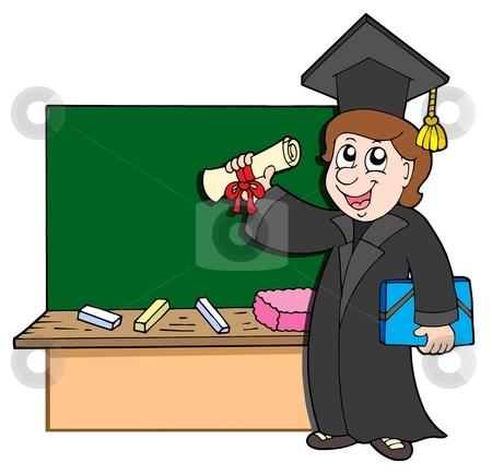 Graduate student with blackboard stock vector clipart, Graduate student with blackboard - vector illustration. by Klara Viskova