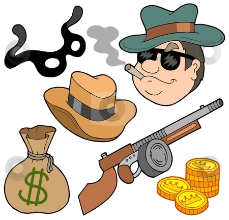 Gangster collection stock vector clipart, Gangster collection on white background - vector illustration. by Klara Viskova