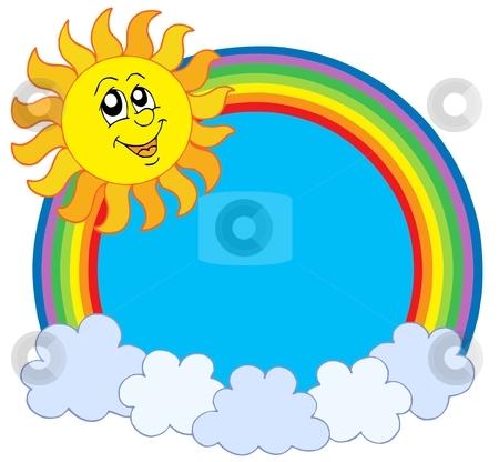 Cute Sun and rainbow stock vector clipart, Cute Sun and rainbow - vector illustration. by Klara Viskova