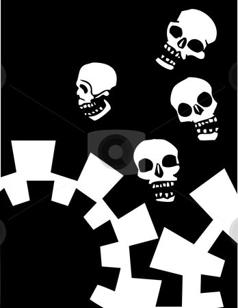 Four Falling skulls stock vector clipart, Four skulls that are falling into mechanical gears. by Jeffrey Thompson