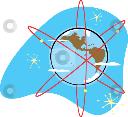 Radio Earth stock vector clipart, Retro styled radioactive Earth with satellites for electrons. by Jeffrey Thompson