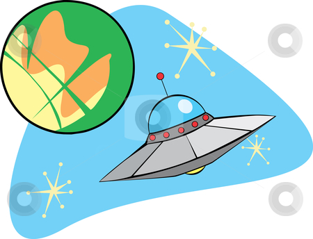 Flying Saucer from Mars stock vector clipart, Flying Saucer in the orbit rendered in a 1950s retro style. by Jeffrey Thompson