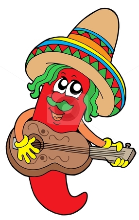 Mexican chilli guitar player stock vector clipart, Mexican chilli guitar player - vector illustration. by Klara Viskova