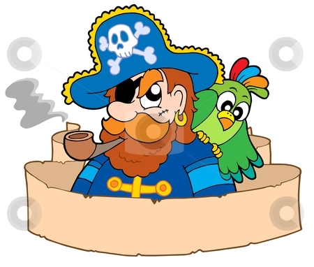 Pirate with parchment stock vector clipart, Pirate with parchment - vector illustration by Klara Viskova