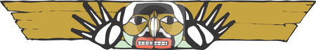 Totem Pole stock vector clipart, A totem crossbeam in the style of Northwest Coast native cultures. by Jeffrey Thompson