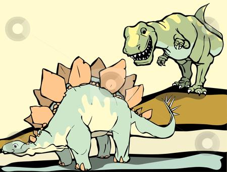 Hunting the Stegasaurus  stock vector clipart, Smiling Tyrannosaurus Rex hunts the Stegosaurus. by Jeffrey Thompson