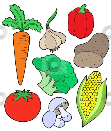 Vegatable collection stock vector clipart, Vegetable collection on white background - vector illustration. by Klara Viskova