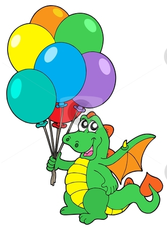 Cute dragon with balloons stock vector clipart, Cute dragon with balloons - vector illustration. by Klara Viskova
