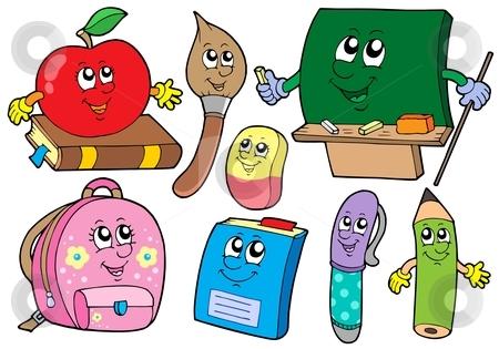 Cartoon school illustrations collections stock vector clipart, Cartoon school illustrations collections - vector illustration. by Klara Viskova