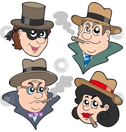Gangester faces collection stock vector clipart, Gangster faces collection - vector illustration. by Klara Viskova