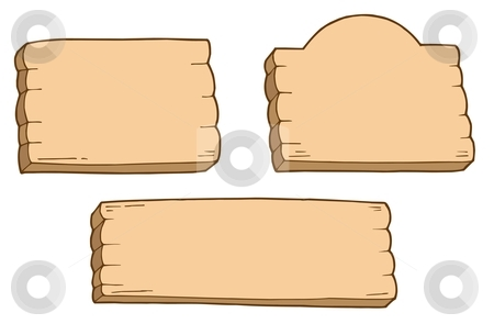 Three wooden signs stock vector clipart, Three wooden signs - vector illustration. by Klara Viskova