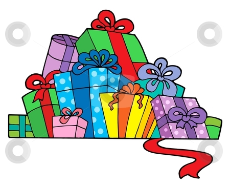 Pile of various gifts stock vector clipart, Pile of various gifts - vector illustration. by Klara Viskova