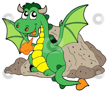 Cute dragon in cave stock vector clipart, Cute dragon in cave - vector illustration. by Klara Viskova